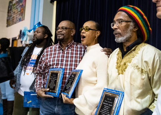 The three students who integrated Bruce Elementary (left to right) Harry Williams, Dwania Kyles and Menelik Fombi  at a ceremony celebrating the legacy at Bruce Elementary  on Friday Jan. 17, 2020.