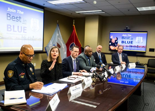 Shelby County District Attorney General Amy P. Weirich addresses the media about the ongoing effort to control overall violent crime in Memphis on Friday Jan. 17, 2020.