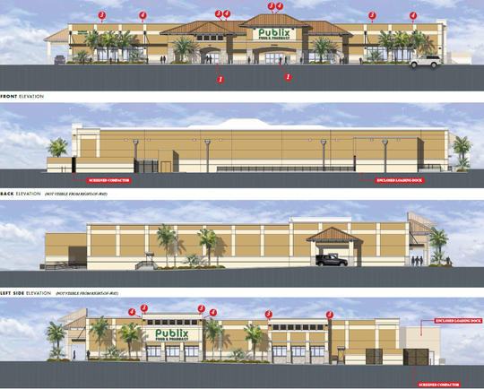The redevelopment of Publix was approved in December 2018 and it included the demolition of the existing Publix and construction of a new one at 175 S. Barfield Dr.
