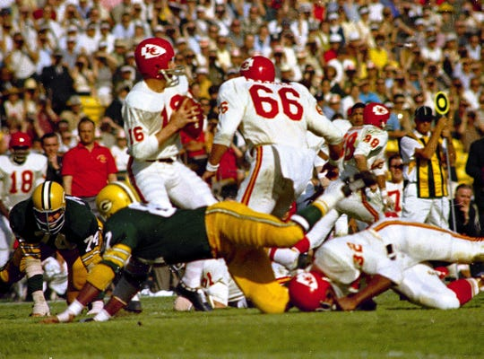 Kansas City Chiefs' quarterback Len Dawson (16) gets ready to release the ball during the first Super Bowl, Jan. 15, 1967, against the Green Bay Packers at the Los Angeles Coliseum in Los Angeles, California. The Green Bay Packers won the game