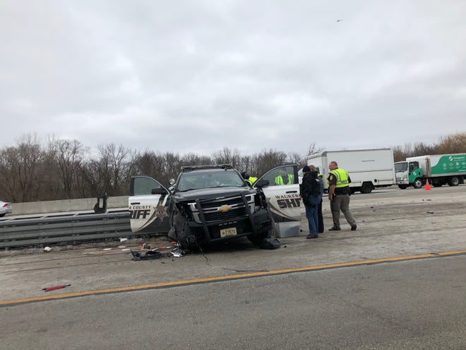 A Waukesha County Sheriff's Department vehicle was damaged after a crash Friday morning on I-94 near Elm Grove Road. A deputy was taken to the hospital with non-life-threatening injuries.