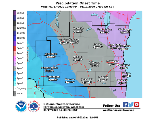 Snow is forecast to move west to east across southern Wisconsin on Friday afternoon, arriving in metro Milwaukee between 4 p.m. and 5 p.m.