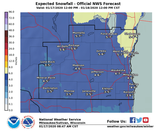 Snowfall totals ranging from 3 to 8 inches are forecast across southern portions of Wisconsin on Friday.