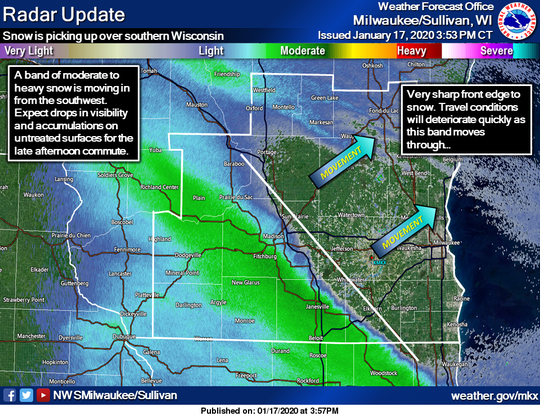 Snow was moving into southern Wisconsin right on schedule late Friday afternoon.