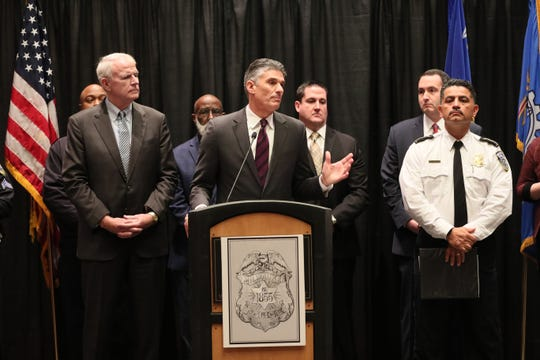 Robert Pacsi, U.S. Secret Service assistant special agent in charge, speaks about security for the upcoming Democratic National  Convention in Milwaukee in July.  At left is Mayor Tom Barrett and at right is Milwaukee Chief of Police Alfonso Morales, Jan. 17, 2020 at the Wisconsin Center.