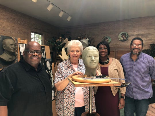 "Clydetta Fulmer: ""At this point, I needed the guidance of the committee to decide the expression that they wanted me to try to capture. They came to my studio and made some suggestions, and I made changes in the clay while they watched and approved."""
