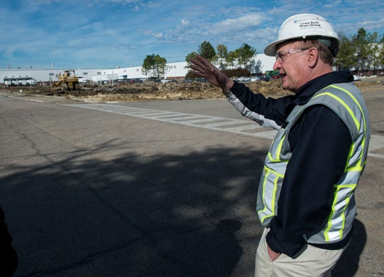 Craig Stapley, director of engine subdivision, shows the construction for a new expansion at the Hyundai Motor Manufacturing plant in Montgomery, Ala., on Friday, Jan. 17, 2020.