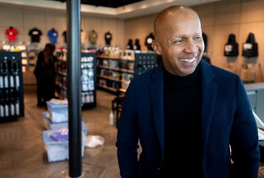 EJI founder Bryan Stevenson at the EJI Legacy Pavilion in Montgomery, Ala., on Friday January 17, 2020. The Pavilion, which houses the EJI ticket office, a gift shop, a restaurant, a coffee shop, civil rights displays and a shuttle stop for the Legacy Museum and the Peace and Justice Memorial opens on Saturday January 18, 2020.