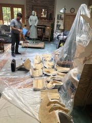 The molds were removed from the clay statue. They  would then be taken to the Fairhope Foundry. The bronze casting would be made from these molds.
