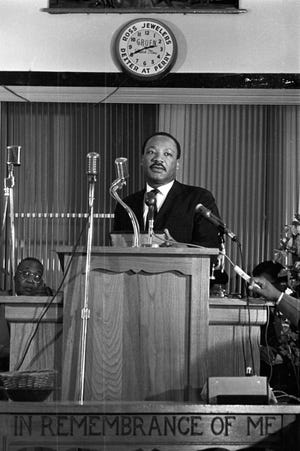 Martin Luther King Jr. visits Maggie Street Baptist Church to rally support for the Poor People's Campaign.