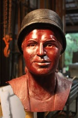 Rosa Parks' head cast in wax, which was used to create the ceramic mold.
