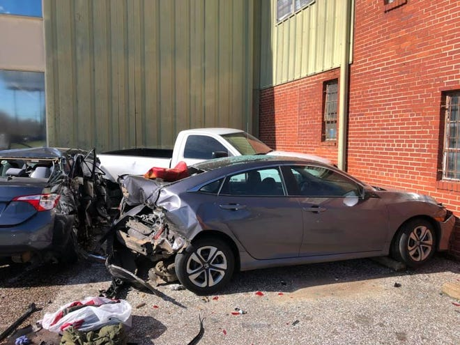 Two people were injured after an attempted traffic stop led to a four-car wreck when the suspect refused to stop for the officer.
