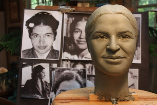 "Clydetta Fulmer: ""Then I began to concentrate on making the sculpture look like one specific woman, Rosa Parks. I compared the clay head to the many photographs that I had downloaded from the internet. I studied the many different views. I looked at photographs from the time that she was very  young until she was very old. I was looking for the characteristics in her face that did not change over the years. I was looking for an 'essence.'"""