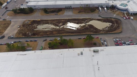 An aerial  look at the start of a new expansion at Hyundai Motor Manufacturing plant in Montgomery, Ala.