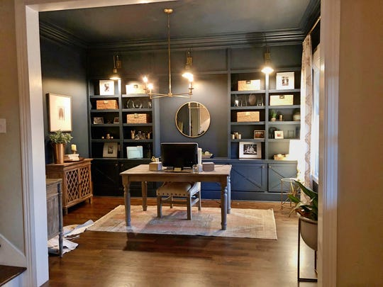 Realtor Kelly Dougherty, with Village Real Estate, just painted her home office Classic Blue. She used the color for walls, trim and ceiling, but if going all-in seems intimidating, built-ins are also a great place to take the color for a whirl.