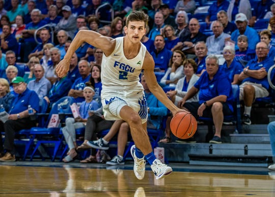 FGCU guard Caleb Catto against Kennesaw State on Thursday, Jan. 16, 2020.