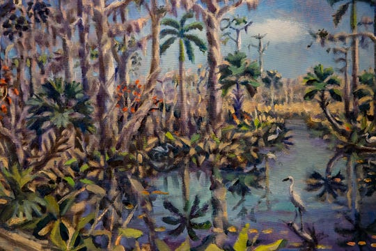 """Boardwalk Reflections"" by Paul Arsenault is one of 5 pieces to be auctioned during the ""Five Faces of Fakahatchee"" gala, Wednesday, Jan. 16, 2020, at the Arsenault Studio & Banyan Arts Gallery in Naples. Proceeds from the auction will help benefit the Fakahatchee Boardwalk Expansion Project."