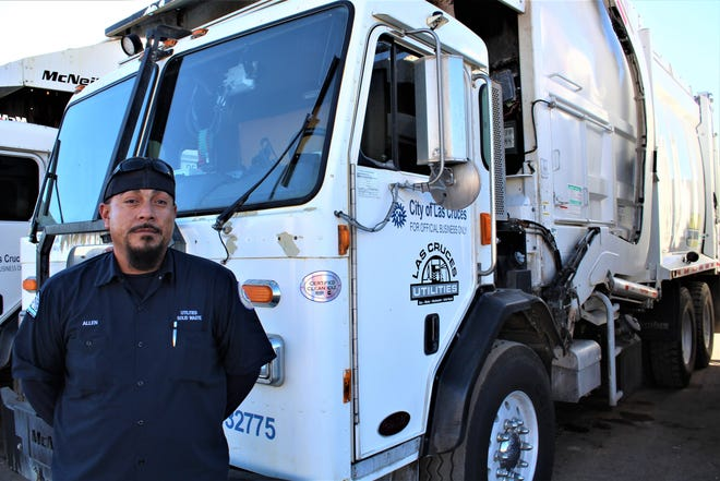 Las Cruces Utilities Solid Waste Heavy Equipment Operator Allen Navarro has spent nearly two decades maneuvering trash trucks through the streets of Las Cruces. For Navarro, it was the straightforward nature of the job that appealed to him, along with benefits like health insurance and paid time off that come with a career at the City.