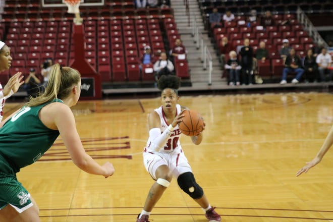 Gia Pack and the New Mexico State women's basketball team hosted Utah Valley in a WAC basketball game on Thursday at the Pan American Center.