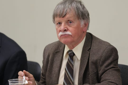New Mexico State University President John Gratton at a meeting of the NMSU Board of Regents at the University' Carlsbad campus.