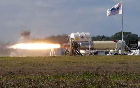 Shown is an X-60A air-launched rocket during a hot-fire test at Cecil Spaceport in Jacksonville, Fla., Jan. 14, 2020. The X-60A, developed through an Air Force Research Laboratory Small Business Innovation Research contract, is an air-launched rocket designed for hypersonic flight research