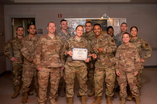 taff Sgt. Serena Beaird, 49ths EMS unit deployment manager, receives the Diamond Sharp Award from the 49th Wing First Sergeants Council, Jan. 14, 2020. Every month, a first sergeant has the honor of choosing a deserving Airman to be presented the Diamond Sharp Award for an outstanding act or continuous outstanding performance.