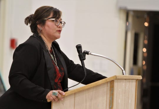 Karen Bedonie campaigns for the Congressional District 3 seat, Thursday, Jan. 16, 2020, during a San Juan County Patriots meeting in Aztec.