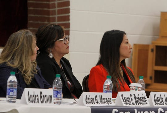 Anastacia Golden Morper, Karen Bedonie and Elisa Martinez participate in a candidate forum, Thursday, Jan. 14, 2020, in Aztec. Morper and Bedonie are running for the Republican nomination for U.S. Congress while Martinez hopes to be the next senator.