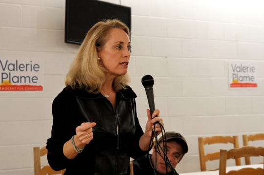 Valerie Plame speaks, Tuesday, Jan. 14, 2020, during a campaign visit to Farmington.