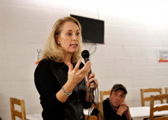 Valerie Plame speaks, Tuesday, Jan. 14, 2020, during a campaign meet and greet at Chef Bernie's in Farmington.