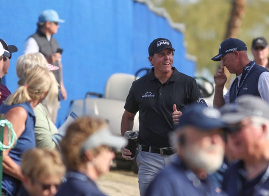 Phil Mickelson makes his way to the 10th hole teebox for his first drive of the day at the Nicklaus Course of PGA West in La Quinta, during the American Express golf tournament, January 17, 2020.