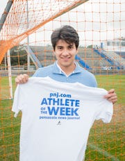 PNJ Athlete of the Week - soccer player Cristian Garcia Vazquez poses at Booker T. Washington High School in Pensacola on Thursday, Jan. 16, 2020.