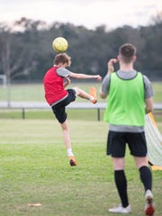 The East Hill Christian boy's soccer practices at Ashton Brosnaham Park in Pensacola on Thursday, Jan. 16, 2020.  This is the team's first season in FHSAA.