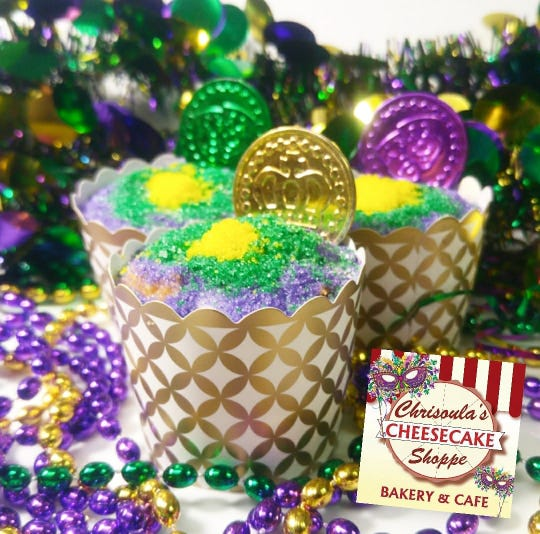 Chrisoula's Cheesecake Shoppe is selling both mini and large king cake cheesecakes until Feb. 25, 2020 in downtown Pensacola.