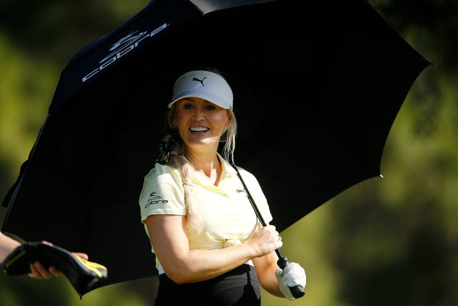 Golf Channel Host Blair O'Neal looks on after playing her shot from the 17th tee during the first round of the Diamond Resorts Tournament of Champions at Tranquilo Golf Course at Four Seasons Golf and Sports Club Orlando on January 16, 2020 in Lake Buena Vista, Fla.