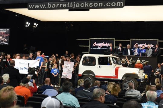 Leaders and other children from Make-A-Wish Arizona were in attendance at Barrett-Jackson Thursday night for the auction of a custom Jeep CJ7 to benefit the organization. The car raised $425,000 by the end of the night.