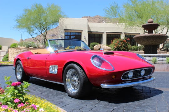 The car, a 1985 Modena GT Spyder California that was built to emulate a Ferrari, was one of threecars built for the film. It will cross the auction block Saturday at the Barrett-Jackson collector car auction at WestWorld in Scottsdale.
