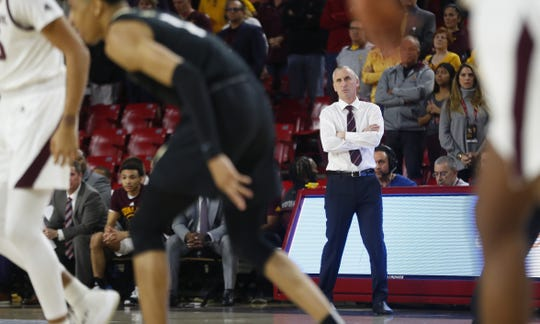 ASU's head coach Bobby Hurley watches his team play against Colorado during the first half at Desert Financial Arena in Tempe, Ariz. on January 16, 2020.