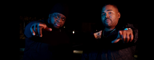 Mega Ran and Young RJ (of Slum Village) on the set of their first music video.