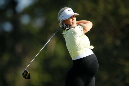 Golf Channel Host Blair O'Neal plays her shot from the 17th tee during the first round of the Diamond Resorts Tournament of Champions at Tranquilo Golf Course at Four Seasons Golf and Sports Club Orlando on January 16, 2020 in Lake Buena Vista, Fla.