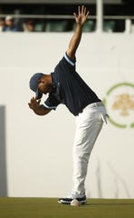 Harold Varner III dabs after making a birdie putt on the 16th hole during first round of the Waste Management Phoenix Open at TPC Scottsdale on Thursday.   Patrick Breen/The Republic Harold Varner III dabs after making a birdie putt on the 16th hole during first round of the Waste Management Phoenix Open at TPC Scottsdale in Scottsdale, Ariz. on January 31, 2019.