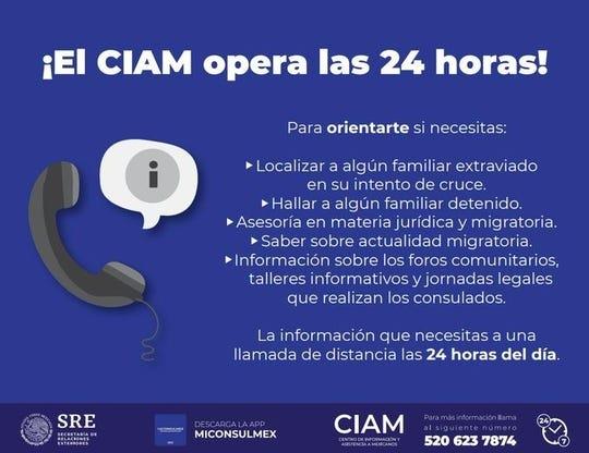 Se puede llamar al CIAM desde Estados Unidos al (520) 623-7874, o desde México al 001-520-623-7874; o bien, consultar la página de internet www.gob.mx/ciam para indagar sobre DACA