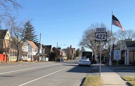 The eastbound lanes on Route 422 in Cleona are adjacent to the shoulder, where residents and visitors sometimes park.