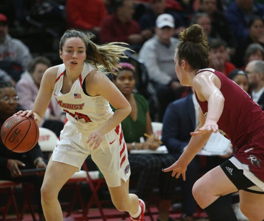 Marist's Sarah Barcello breaks away from Rider's Lea Favre during Thursday's game at Marist on January 16, 2020.