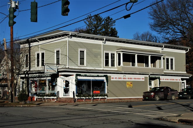 This 2-story building on the northwest corner of North Main and West Church (Route 199) streets in Pine Plains was built in 1895 by local businessman Jacob Bowman. Retail outlets occupied the first floor while Bowman Opera House, a nearly 500-seat entertainment venue hosted traveling minstrel shows, vaudeville productions, and other events on the second floor.
