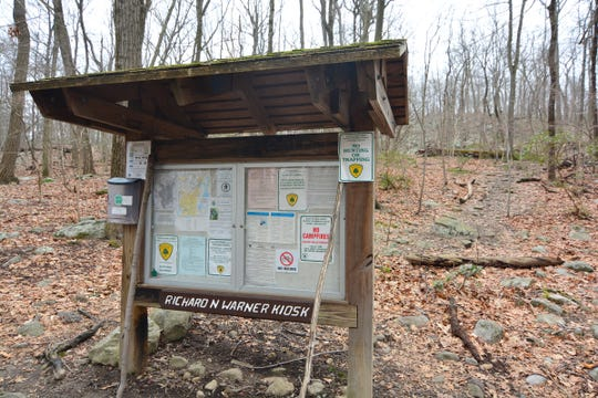 This kiosk greets visitors at the outset of the Wyanokie High Point Loop.