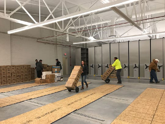The Archives Storage located at 340 North Second Street are substantially complete, according to the Franklin County Commissioners. Shown here is documents being moved in on Dec. 12 2019.
