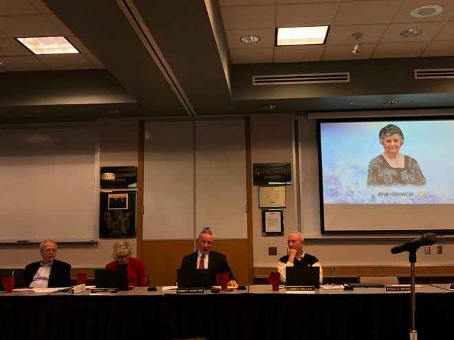 From left to right: Southern York County school board member Bruce Bauman, Superintendent Sandra Lemmon and members Robert Schefter and James Holley. The board on Thursday, Jan. 17 remembered former member Jerri Groncki, who recently died.