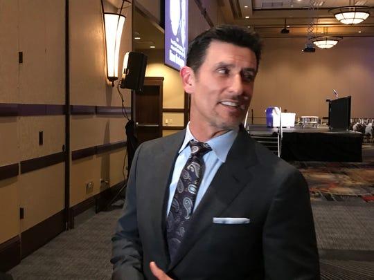 Nomar Garciaparra spoke with the media before Thursday's Bobby Dolan baseball dinner in downtown Reno.