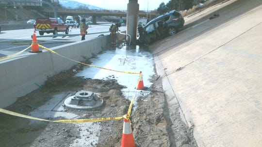 A photo of the scene of a rollover crash that killed a Fallon woman on Interstate 80, near the Virginia Street off-ramp.